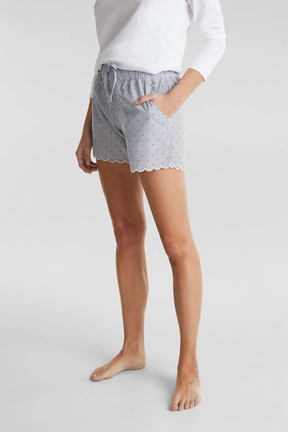 Woven shorts with a mix of patterns, 100% cotton, BLUE LAVENDER, detail image number 6
