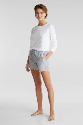 Woven shorts in 100% cotton, BLUE LAVENDER, detail