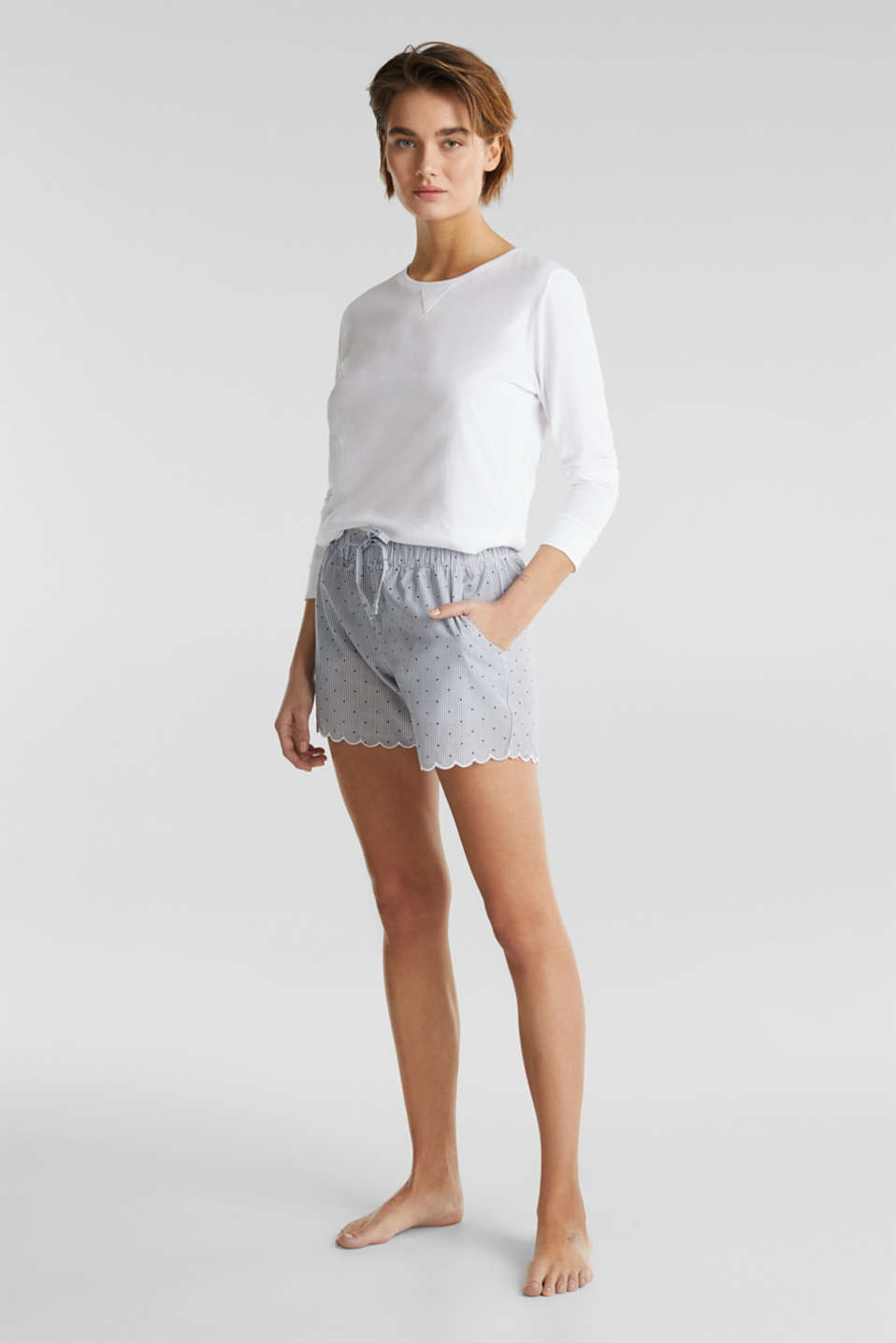Woven shorts in 100% cotton, BLUE LAVENDER, detail image number 1