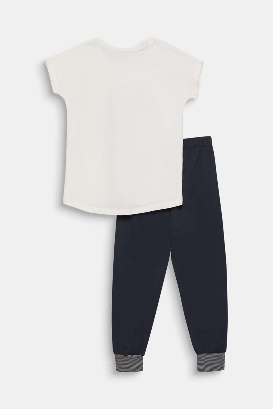 Pyjamas with a printed motif, 100% cotton, NAVY 2, detail image number 1