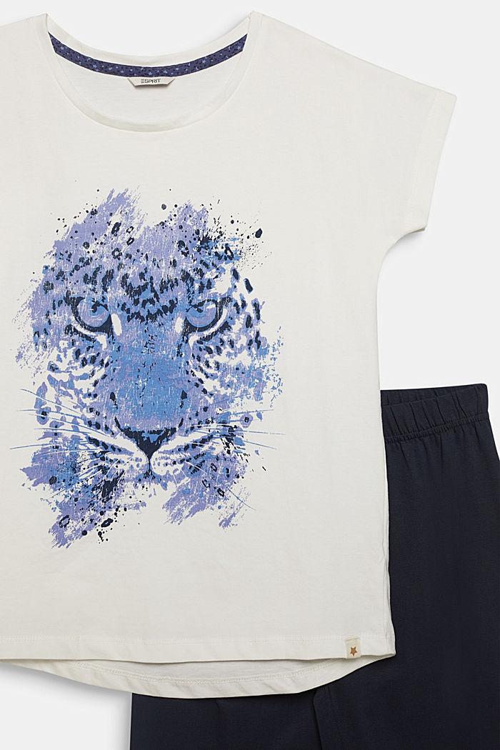Pyjama met motiefprint, 100% katoen, NAVY, detail image number 2