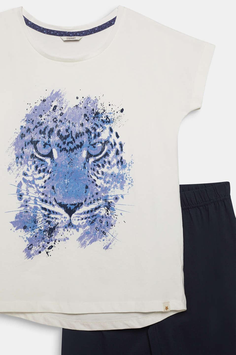 Pyjamas with a printed motif, 100% cotton, NAVY 2, detail image number 2