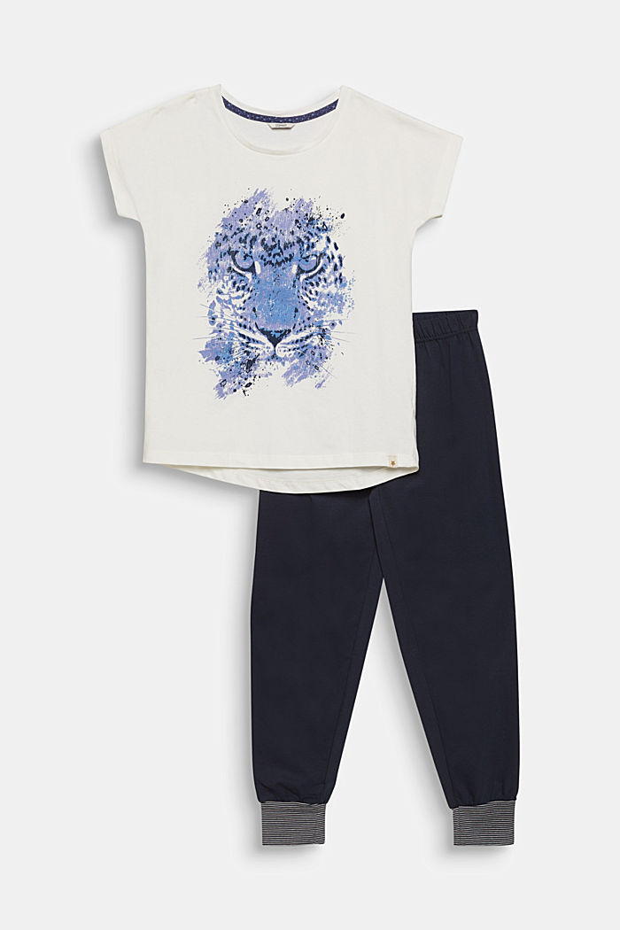 Pyjama met motiefprint, 100% katoen, NAVY, detail image number 0