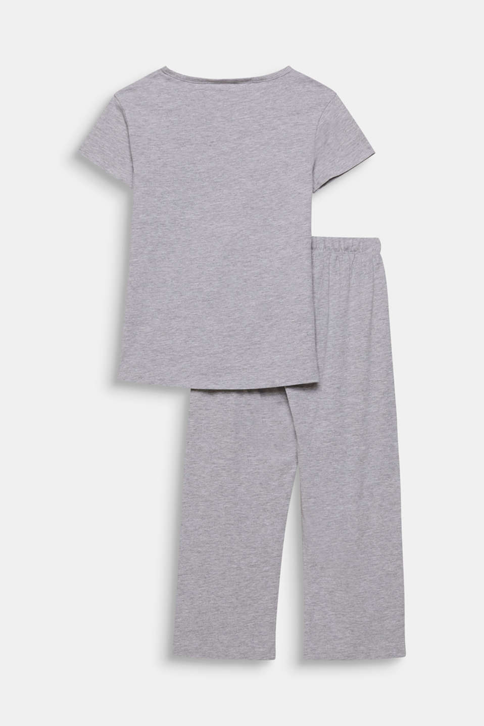 Melange jersey pyjamas with a print, LIGHT GREY, detail image number 1