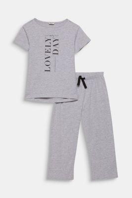 Melange jersey pyjamas with a print, LIGHT GREY, detail