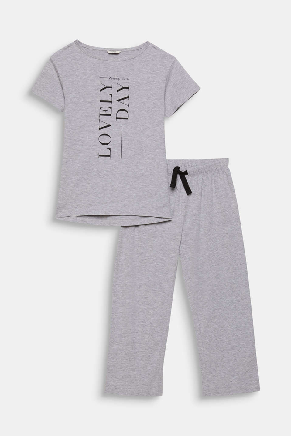 Melange jersey pyjamas with a print, LIGHT GREY, detail image number 0