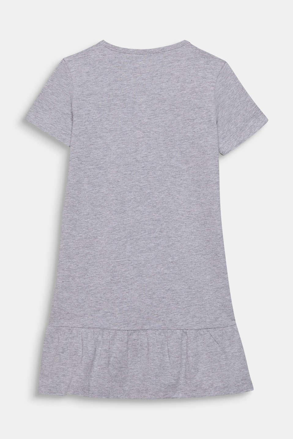 Melange jersey nightshirt with a print, LIGHT GREY, detail image number 1