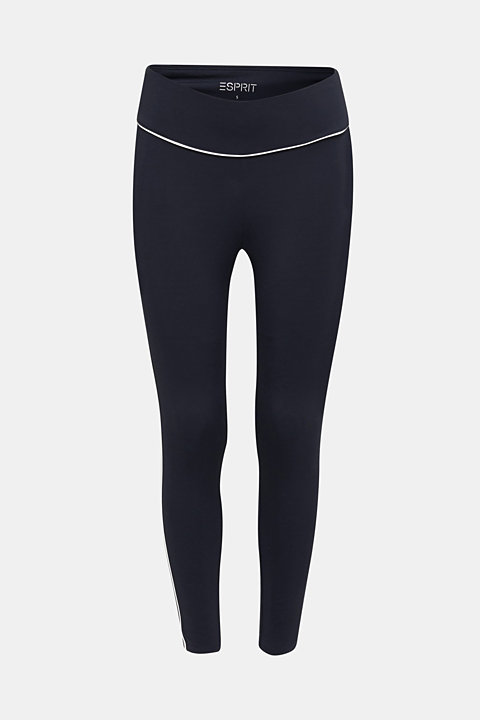Cropped compression leggings with piping, E-DRY