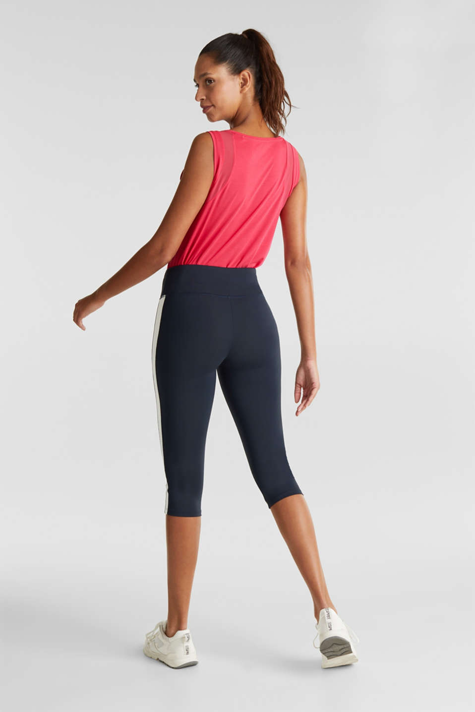 Capri leggings with stripes, E-DRY, NAVY 2, detail image number 2