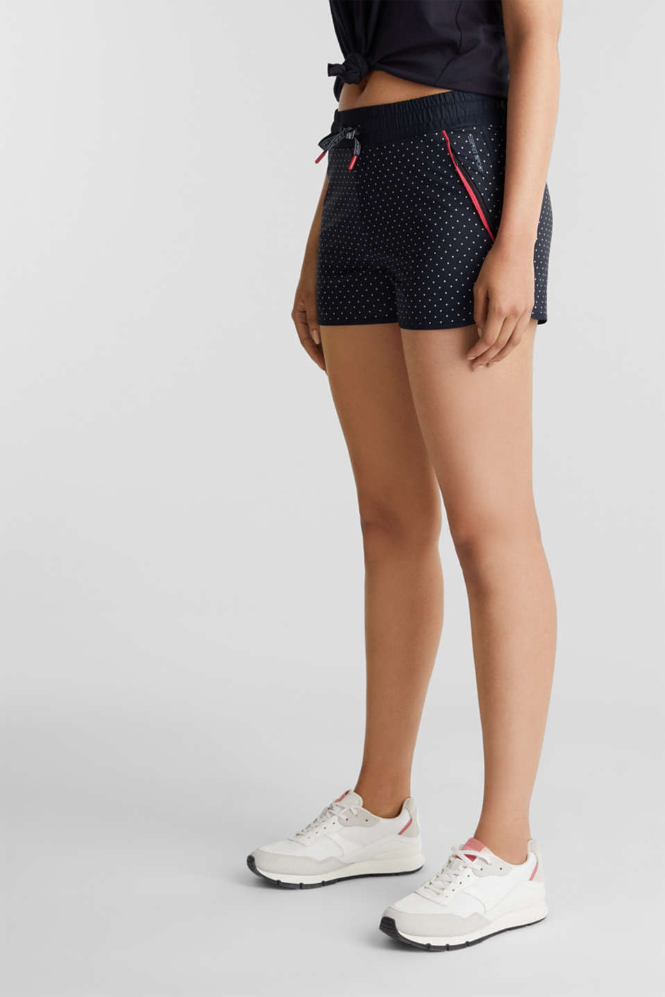 Polka dot stretch shorts, E-DRY, NAVY 3, detail image number 6