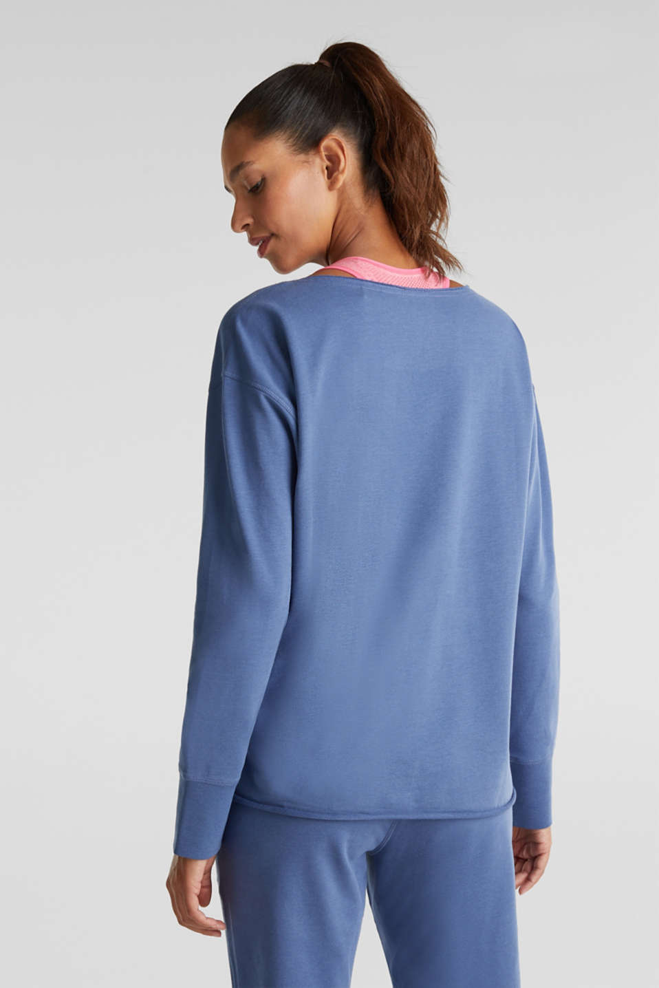Sweatshirt with a logo print, GREY BLUE, detail image number 3