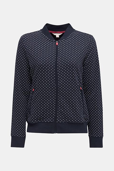 Sweatshirt cardigan with a print