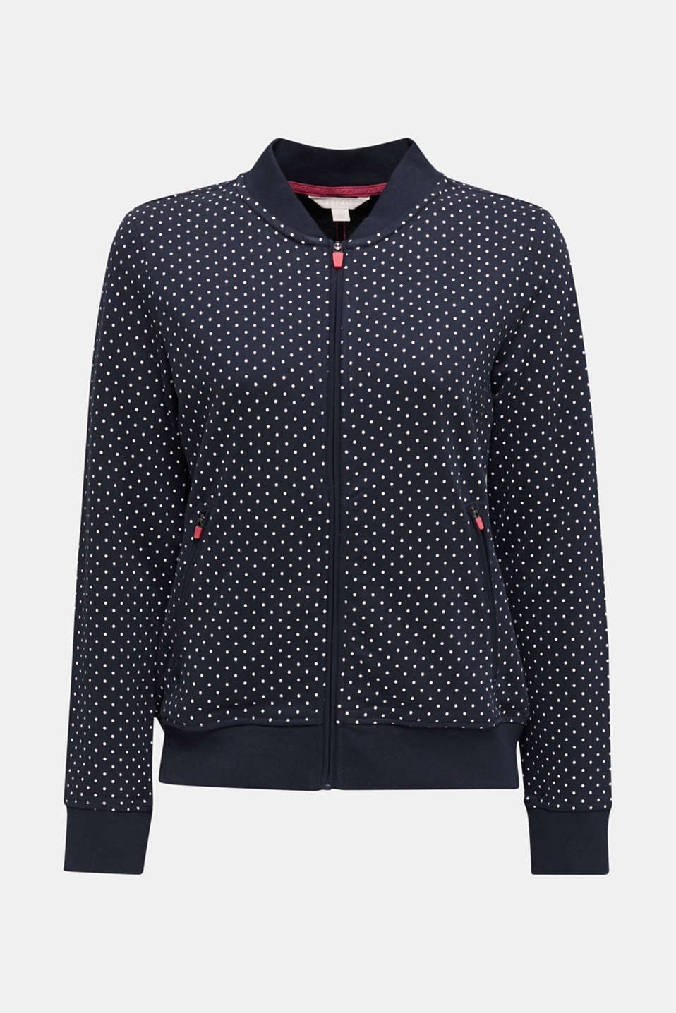 Sweatshirt cardigan with a print, NAVY 3, detail image number 7