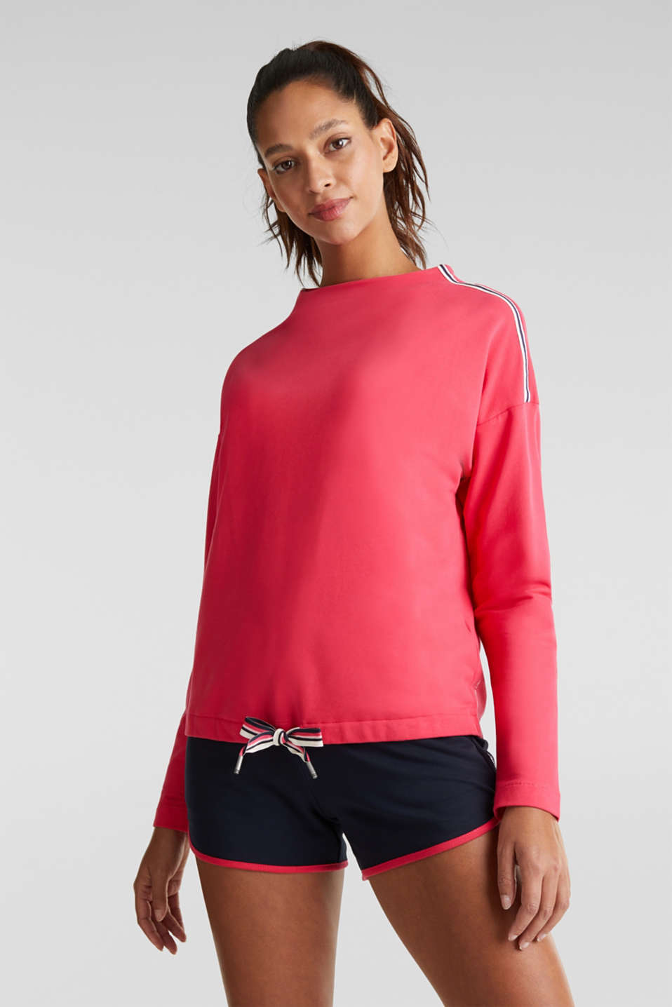 Stretch sweatshirt with a stand-up collar and stripes, BERRY RED, detail image number 0