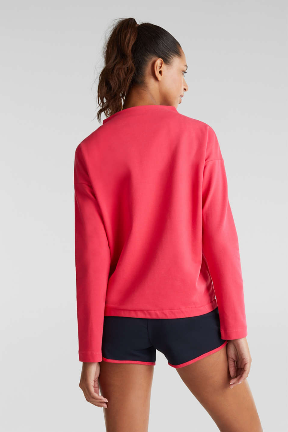 Stretch sweatshirt with a stand-up collar and stripes, BERRY RED, detail image number 2