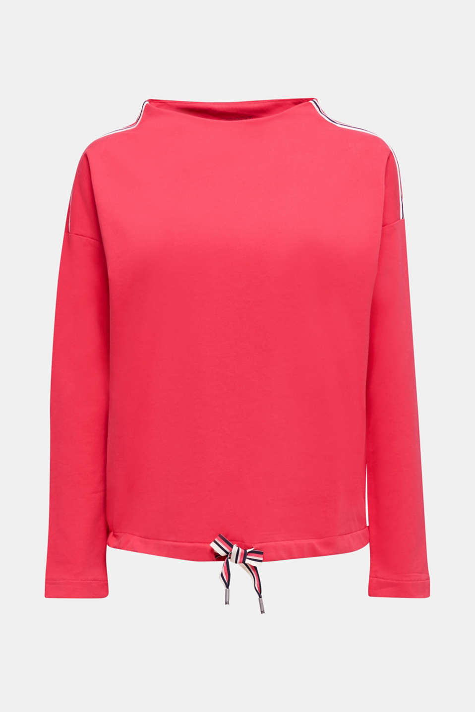 Stretch sweatshirt with a stand-up collar and stripes, BERRY RED, detail image number 5