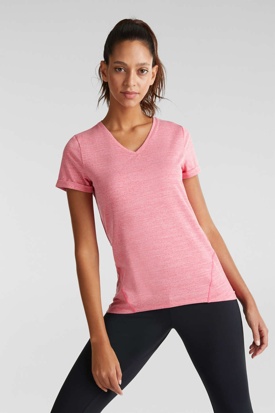 Melange stretch top, E-DRY, BERRY RED 2, detail image number 0