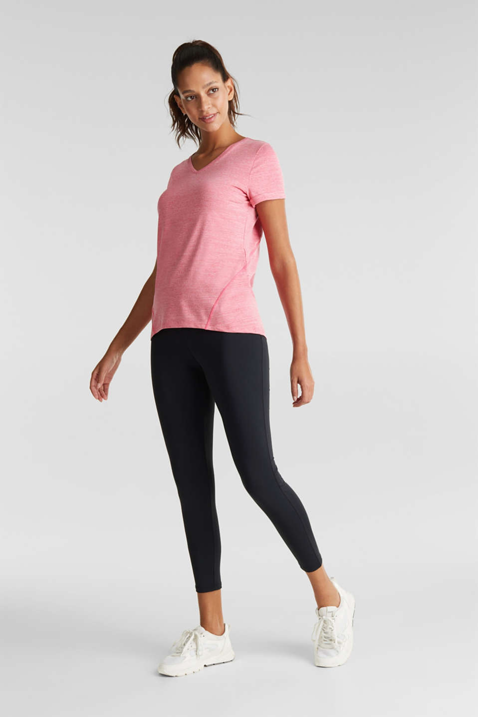 Melange stretch top, E-DRY, BERRY RED 2, detail image number 1