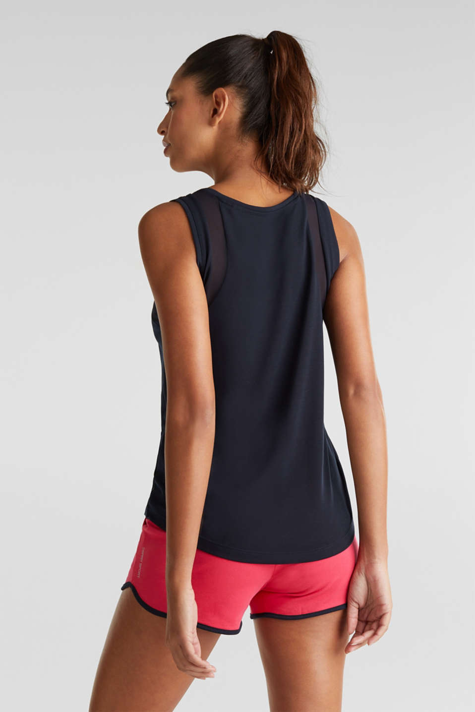 Sleeveless top with mesh inserts, NAVY 2, detail image number 2