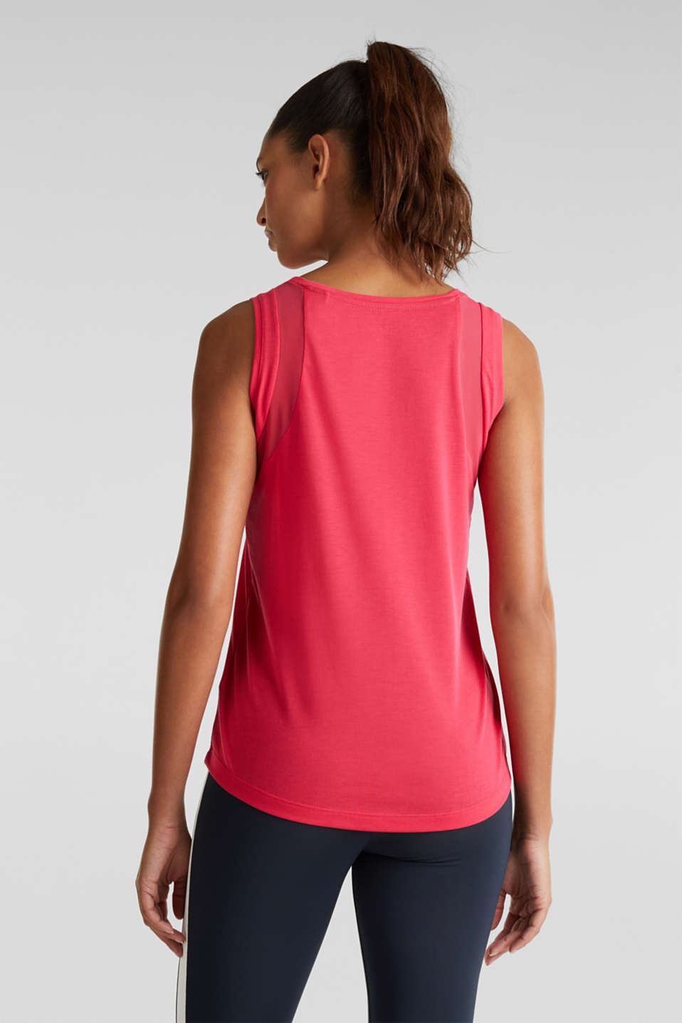 Sleeveless top with mesh inserts, BERRY RED, detail image number 2