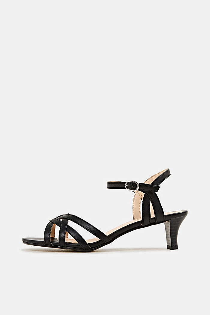 Sandals with straps in a braided look, BLACK, detail image number 0