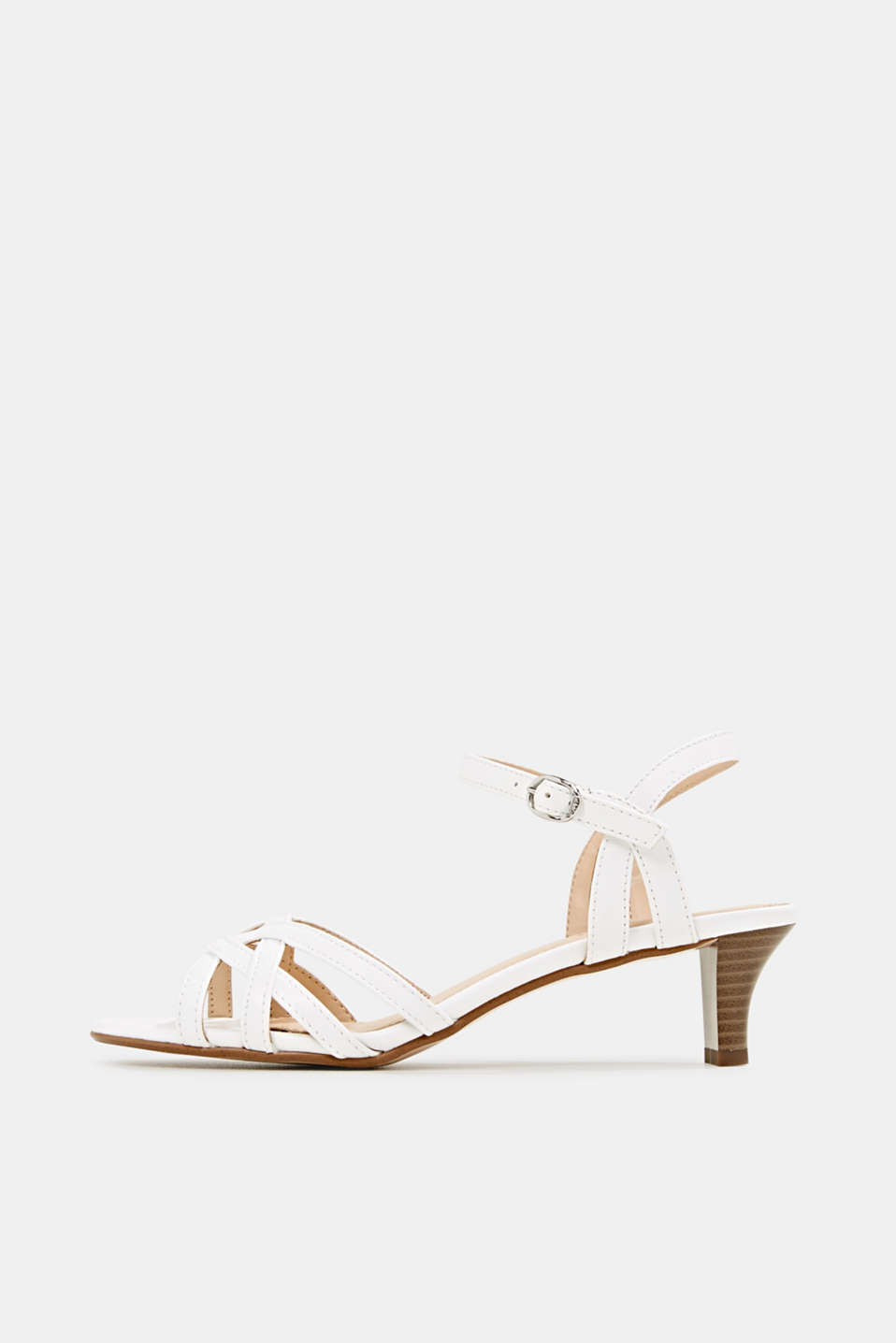 Sandals with straps in a braided look, WHITE, detail image number 0