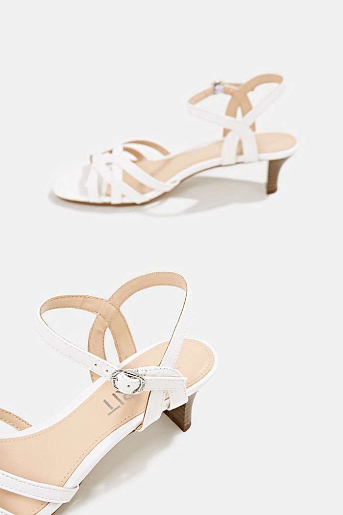 Sandals with straps in a braided look, WHITE, detail image number 5
