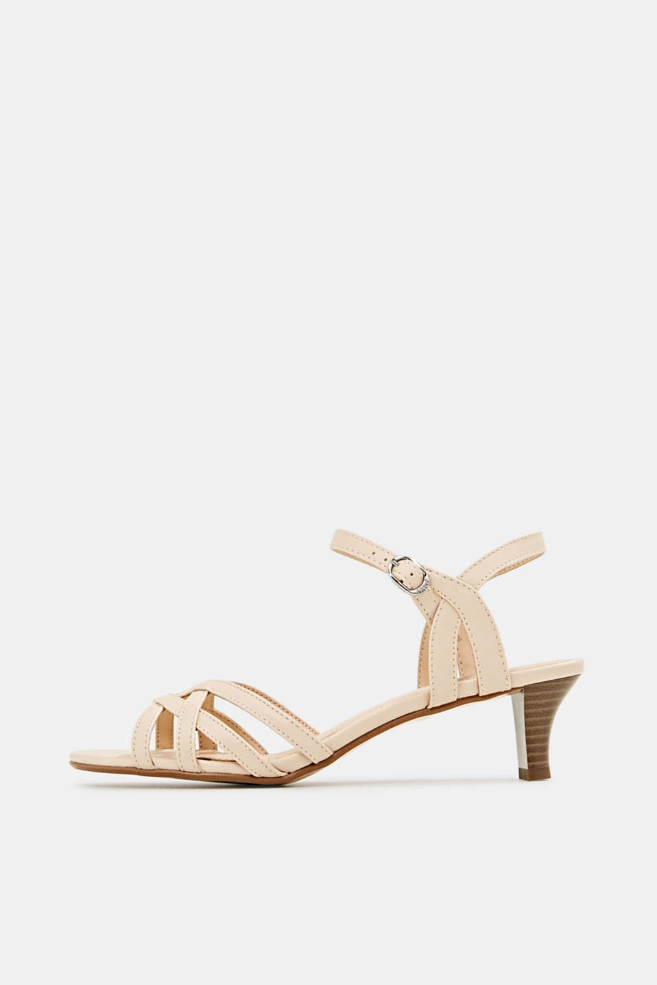 Sandals with straps in a braided look, SAND, detail image number 0