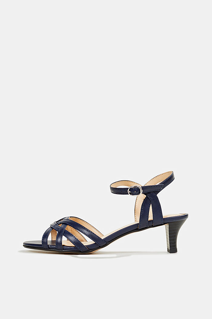 Sandals with straps in a braided look, NAVY, detail image number 0