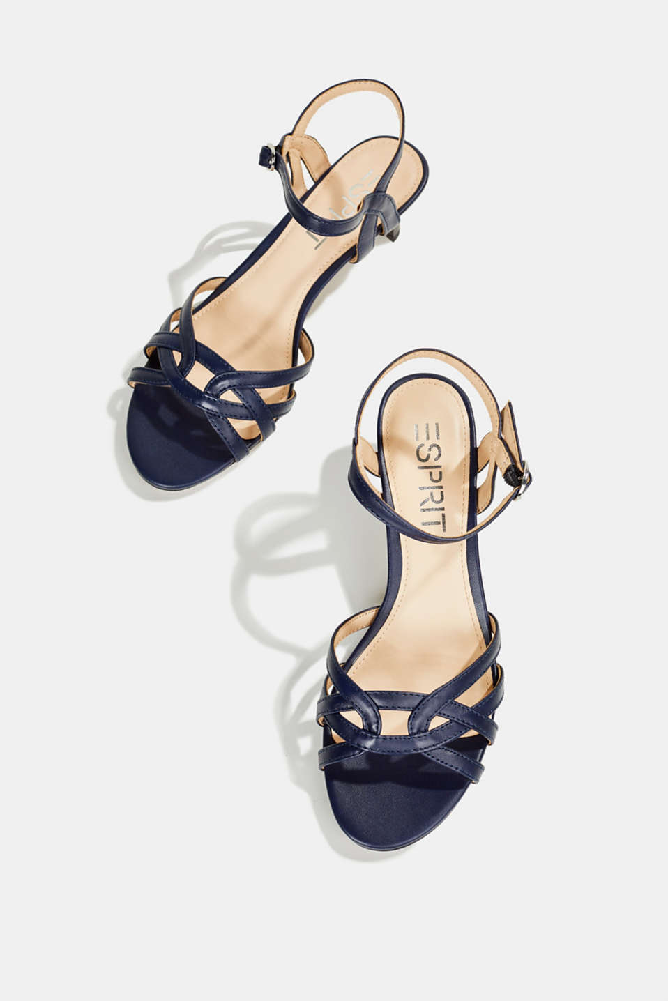 Sandals with straps in a braided look, NAVY, detail image number 1