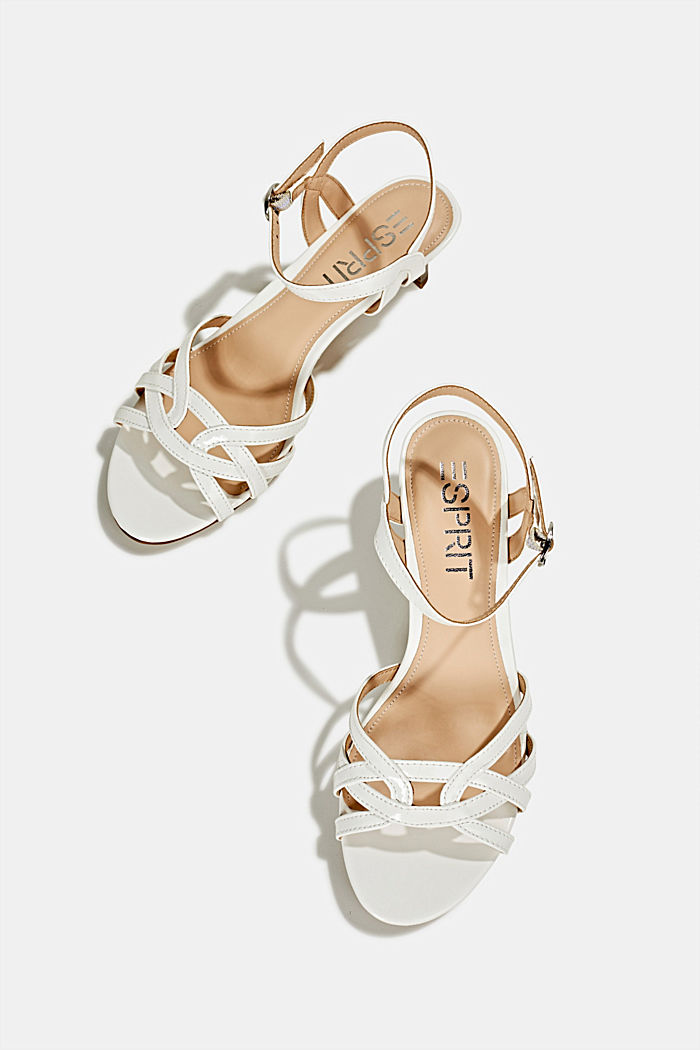 Sandals with straps in a braided look, WHITE, detail image number 1