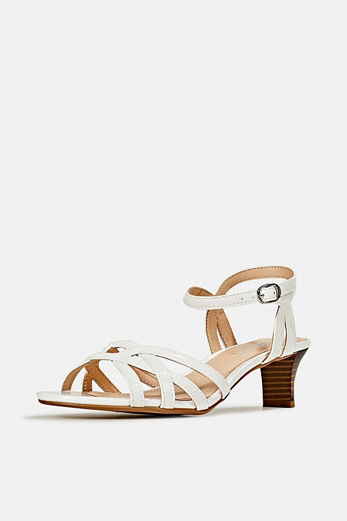 Sandals with straps in a braided look, WHITE, detail image number 2
