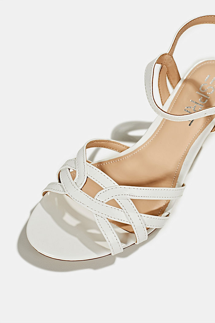 Sandals with straps in a braided look, WHITE, detail image number 4