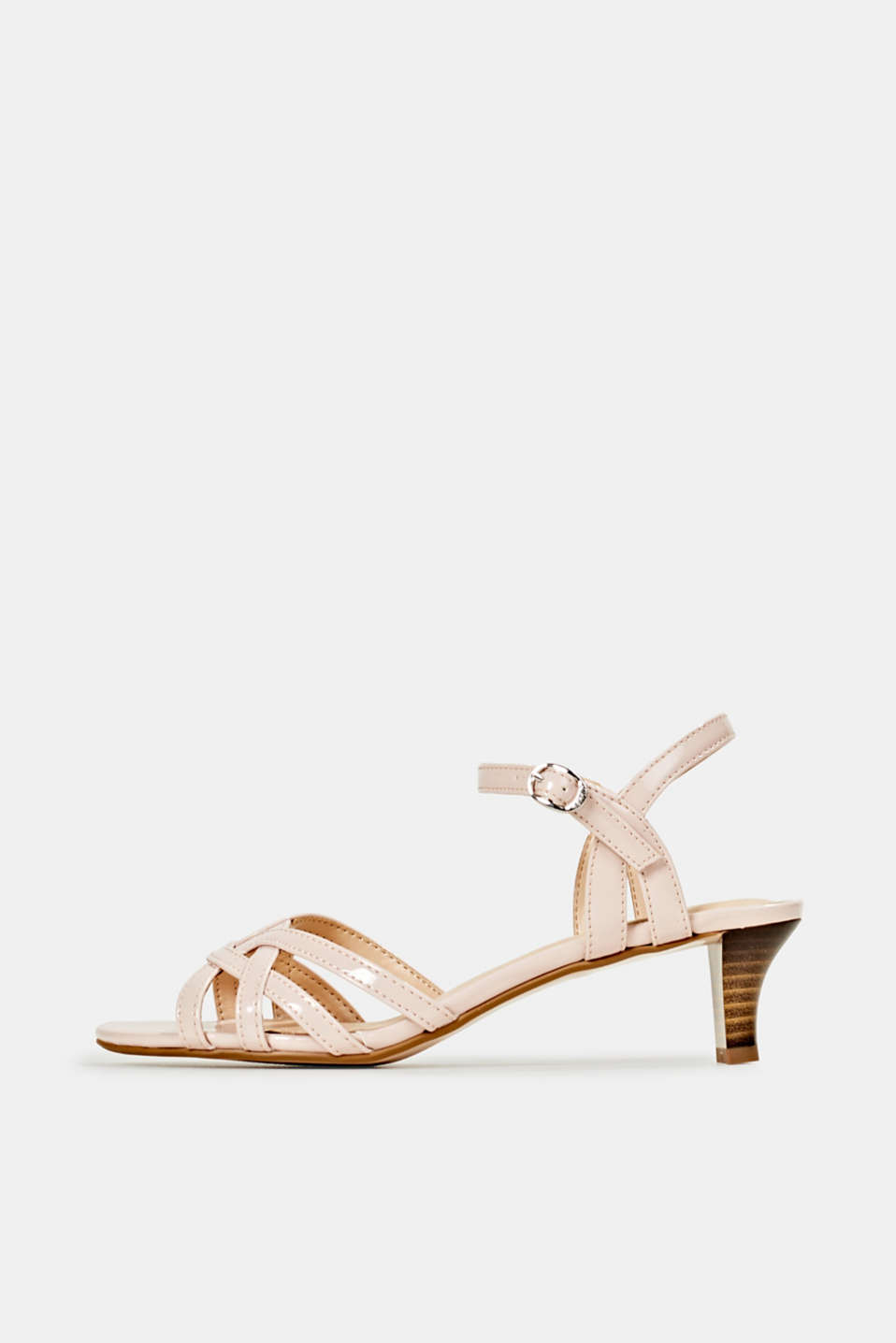 Sandals with straps in a braided look, NUDE, detail image number 0