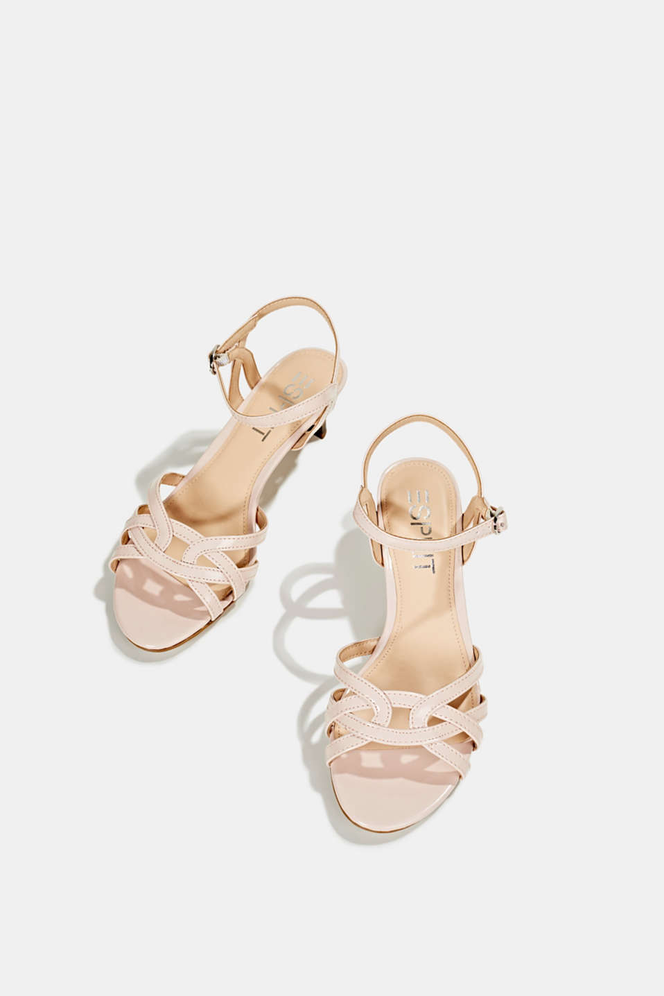 Sandals with straps in a braided look, NUDE, detail image number 1