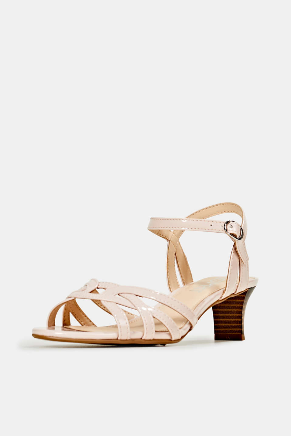 Sandals with straps in a braided look, NUDE, detail image number 2