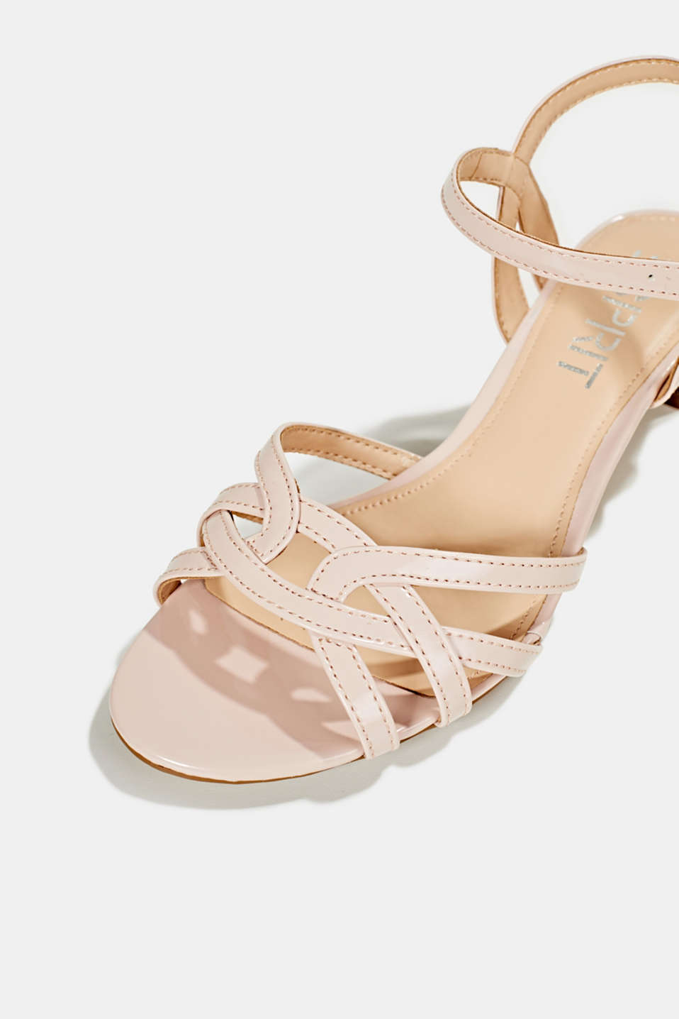 Sandals with straps in a braided look, NUDE, detail image number 4