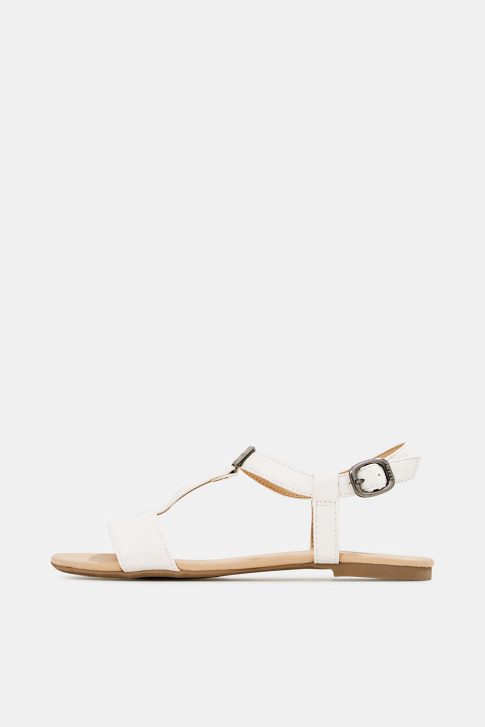 Faux leather sandals, OFF WHITE, detail image number 0