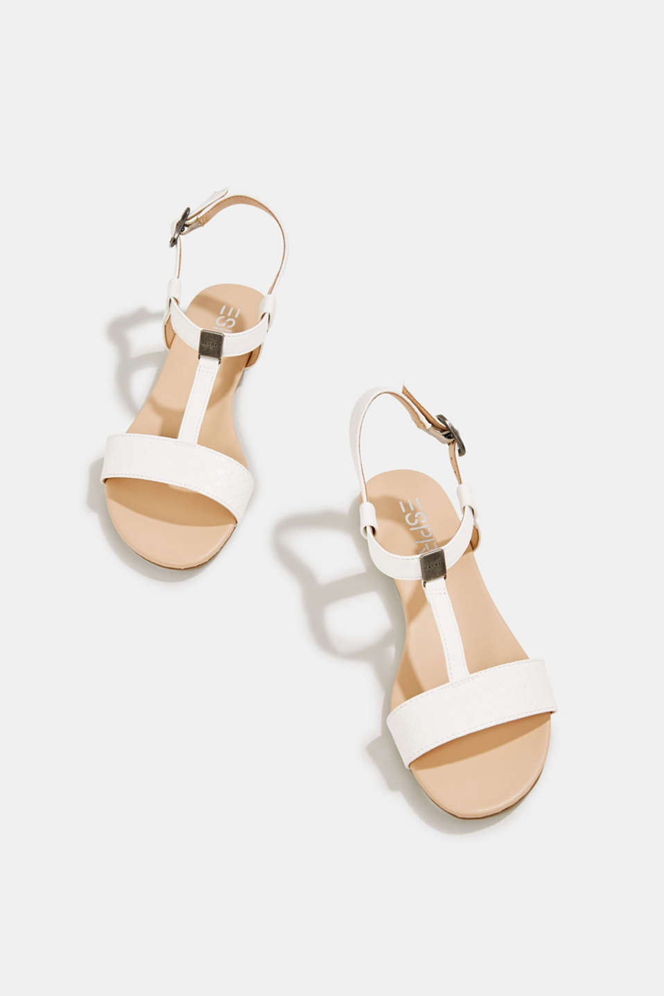 Faux leather sandals, OFF WHITE, detail image number 1