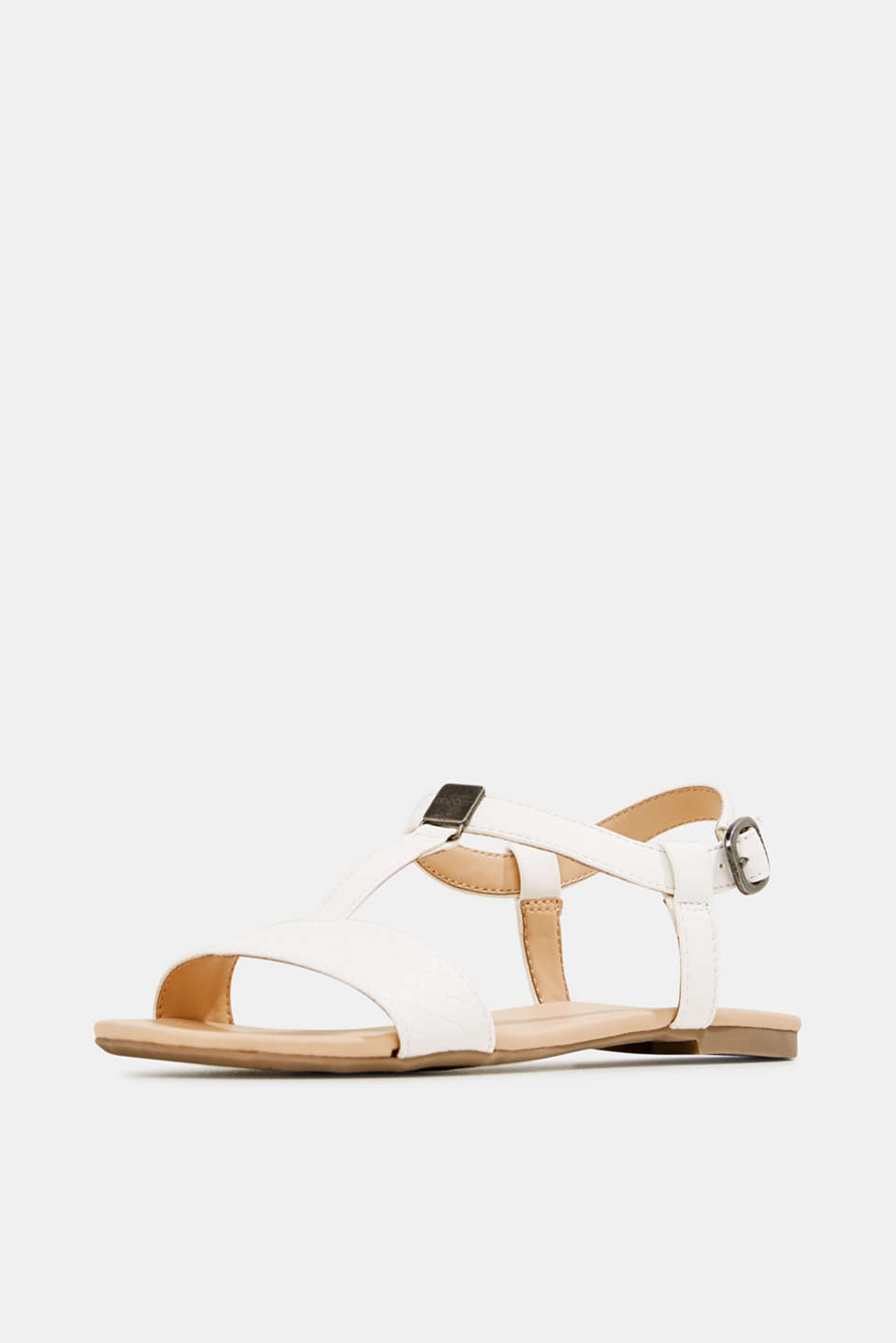 Faux leather sandals, OFF WHITE, detail image number 2