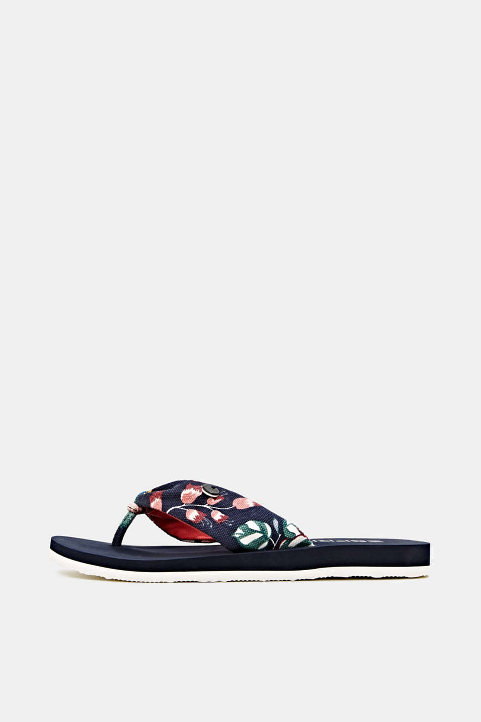 Thong sandals with floral print, NAVY, detail image number 0