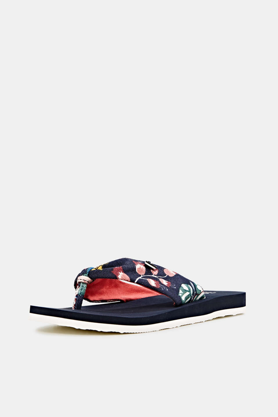 Thong sandals with floral print, NAVY, detail image number 2
