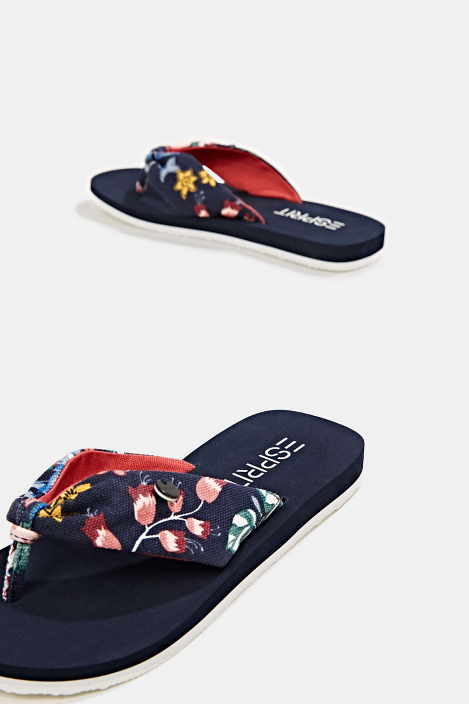 Thong sandals with floral print, NAVY, detail image number 3