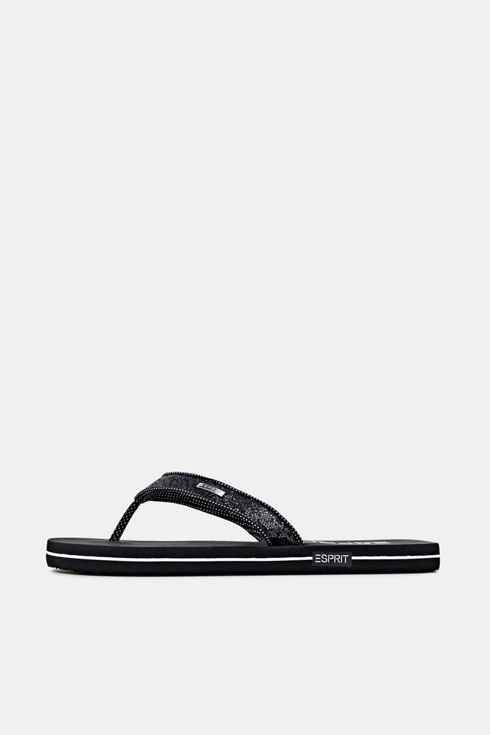 Slip slops with glittery straps, BLACK, detail image number 0