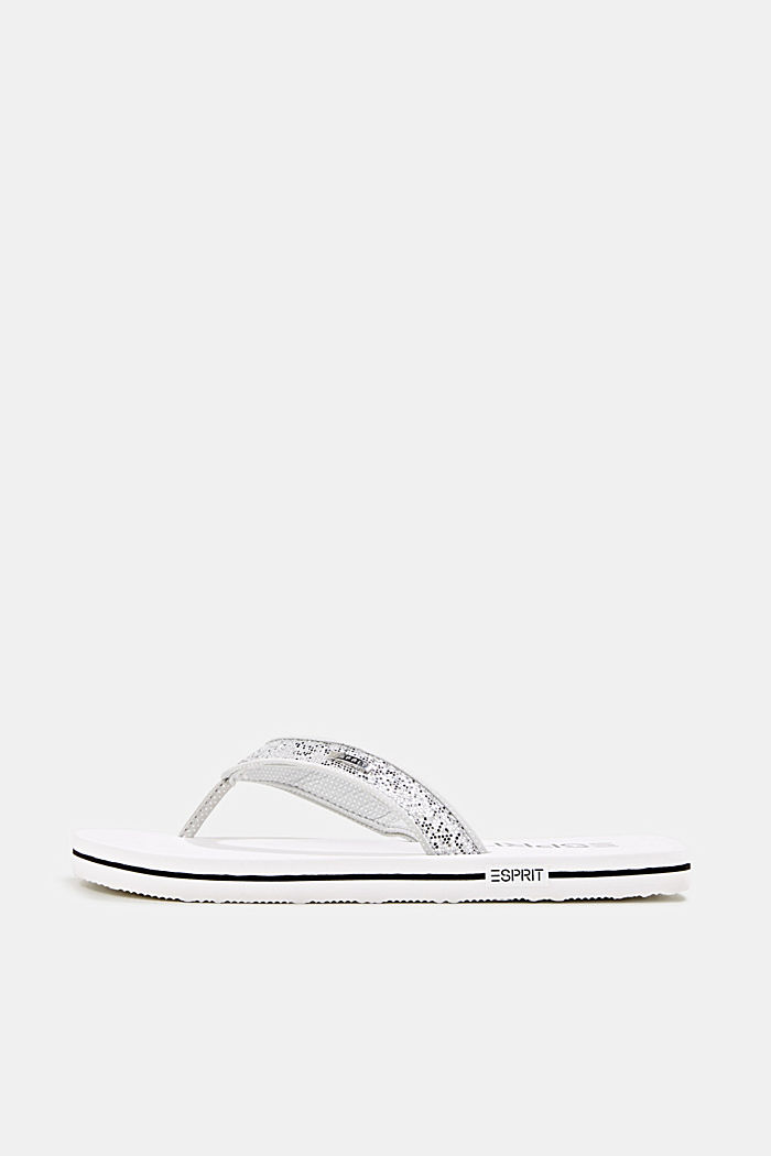 Slip slops with glittery straps, WHITE, detail image number 0