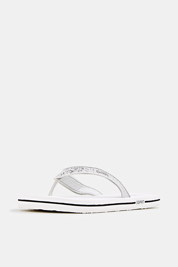 Slip slops with glittery straps, WHITE, detail image number 1