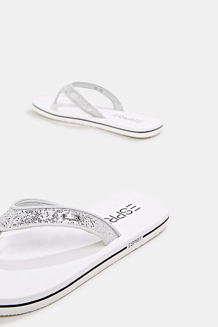 Slip slops with glittery straps, WHITE, detail image number 2