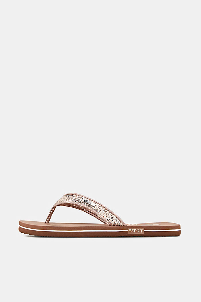 Slip slops with glittery straps, CREAM BEIGE, detail image number 0