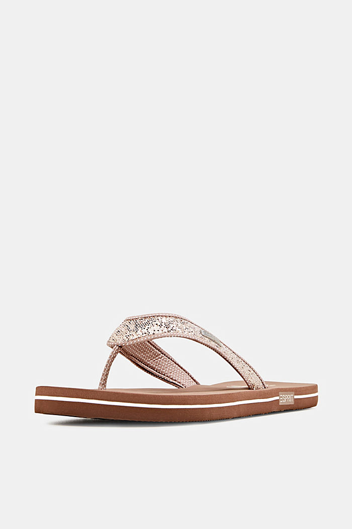 Slip slops with glittery straps, CREAM BEIGE, detail image number 2