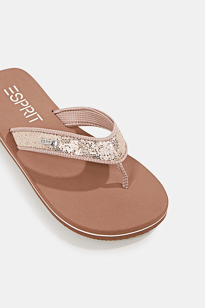 Slip slops with glittery straps, CREAM BEIGE, detail image number 4